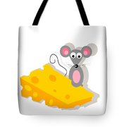 Mouse And Cheese Illustration Tote Bag
