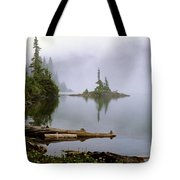 Mowich Lake In Fog  Tote Bag