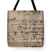 Mozart: Motet Manuscript Tote Bag by Granger