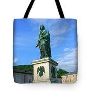 Mozart Statue In Mozartplatz, Salzburg, Austria Tote Bag