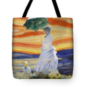 Ms Monet And Red Skies Tote Bag