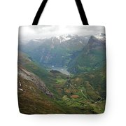 Mt. Dalsnibba And The Serpentine Descent To The Geirangerfjord Tote Bag