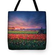 Mt. Hood And Tulip Field At Dawn Tote Bag