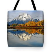 Mt Moran From Ox Bow Bend On A Fall Morning Tote Bag
