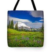 Mt Rainier And Wildflowers Tote Bag