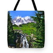 Mt. Rainier From Myrtle Falls Tote Bag