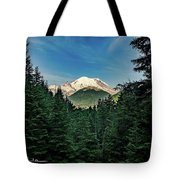 Mt Rainier Through The Trees Tote Bag