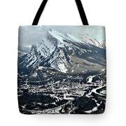 Mt Rundle Aerial View Tote Bag
