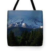 Mt Shasta Under Clouds - Panorama Tote Bag