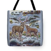 Mule Deer Lovers From River Mural Tote Bag