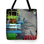 Multi-colored Benches On The Pedestrian Zone Tote Bag