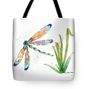 Multi-colored Dragonfly Tote Bag