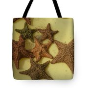 Multi-colored Star Fish On The Sand Tote Bag