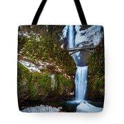 Multnomah Falls With Snow Tote Bag