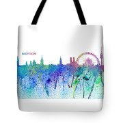Munich Skyline Silhouette An Impressionistic Splash - Dream Cities Series Tote Bag