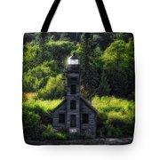 Munising Grand Island Lighthouse Upper Peninsula Michigan Vertical 01 Tote Bag