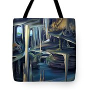 Mural Ice Monks In November Tote Bag