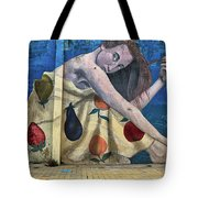 Mural Of A Woman In A Fruit Dress Tote Bag
