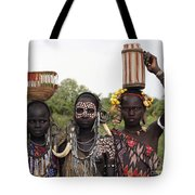 Mursi Tribesmen In Ethiopia Tote Bag