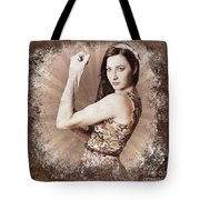Muscle And Strength Pinup Poster Girl Tote Bag