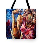Muse Of The Long Neck In The Night City Tote Bag