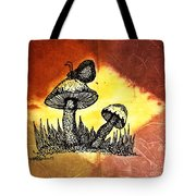 Mushroom And Butterfly Tote Bag