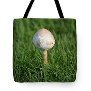 Mushroom In The Grass Tote Bag