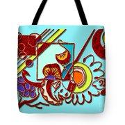Mushrooms And Grapes Blue Tote Bag