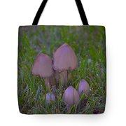 Mushrooms In Grass Tote Bag