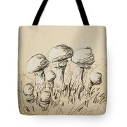 Mushrooms On Toned Paper With Charcoal Tote Bag