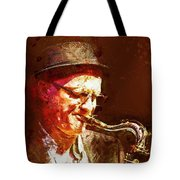Music - Jazz Sax Player With A Hat Tote Bag