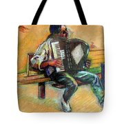 Musician With Accordion Tote Bag