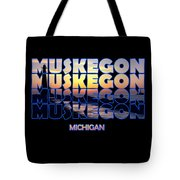 Muskegon Channel Sunset Tote Bag