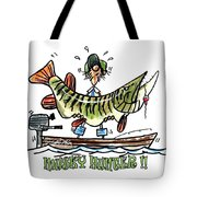 Musky Hunter - Cartoon Tote Bag by Peter McCoy