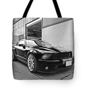 Mustang Alley In Black And White Tote Bag by Gill Billington