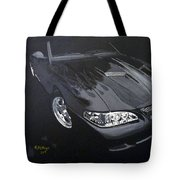Mustang With Flames Tote Bag