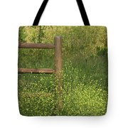 Mustard Grass And Fence At Entrance To Peters Canyon Tote Bag
