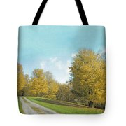Mustard Yellow Trees And Landscape Tote Bag