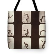 Muybridge Locomotion Back Hand Spring Tote Bag by Photo Researchers