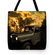 My 51 Willys Jeep Pickup Truck At Sunset Tote Bag