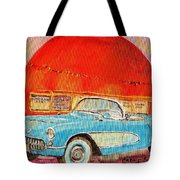 My Blue Corvette At The Orange Julep Tote Bag