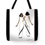 My Fashion Art-white Dress With Black Stripe Tote Bag