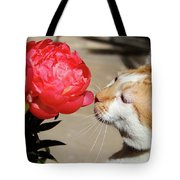 My Kitty In Love With A Peony Tote Bag