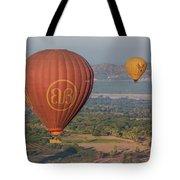 Myanmar. Bagan. Hot Air Balloons. In The Air. Tote Bag