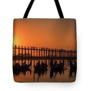 Myanmar. Taungthaman Lake. U Bein Bridge. Sunset. Tote Bag