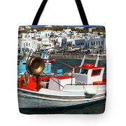 Mykonos Greece Fishing Boats Tote Bag
