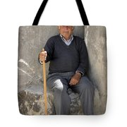 Mykonos Man With Walking Stick Tote Bag