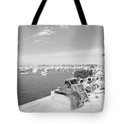 Mylor Quay In Cornwall Monochrome Tote Bag