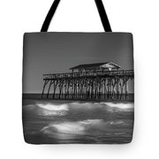 Myrtle Beach Pier Panorama In Black And White Tote Bag