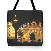 Mysore Palace Main Gate Temple Gloriously Lit At Night Tote Bag